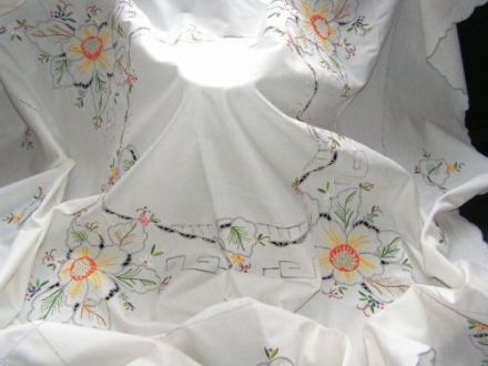 Vintage Cotton Hand Embroidered Tablecloth TC3 - Yellow flowers & cutwork